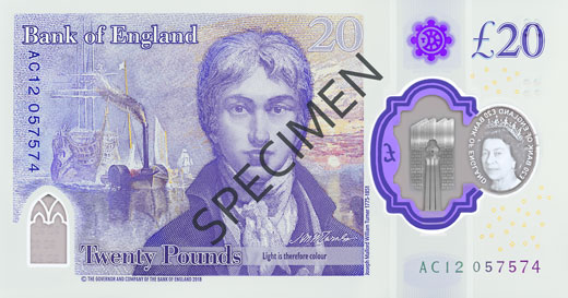 Reverse of the new polymer £20 note
