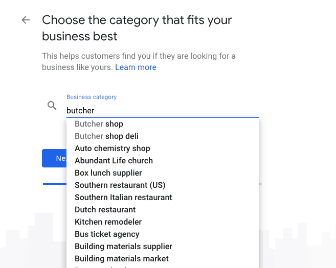 Choose your business category on Google My Business