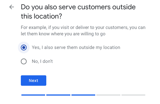 Customer specific question example from Google My Business