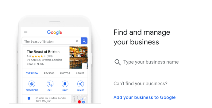 Find your business on Google My Business screenshot