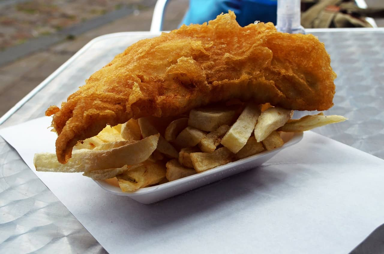 fish and chips in takeaway pot