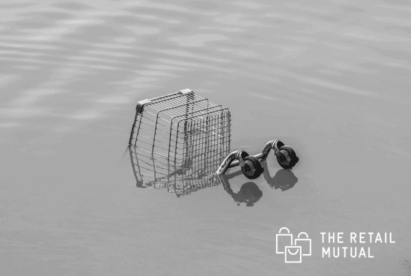 trolley in flood water